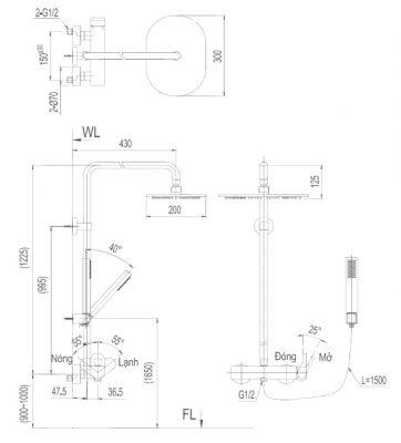 bản vẽ sen cây tắm INAX BFV-60S