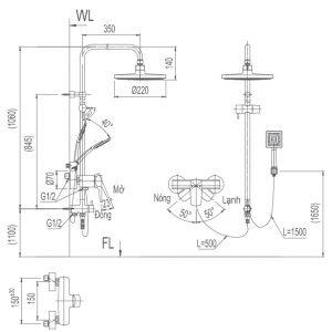 bản vẽ sen cây tắm INAX BVF-50S nóng lạnh