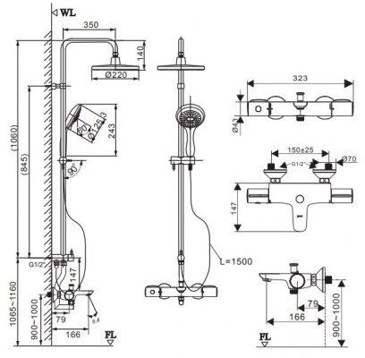 bản vẽ sen cây tắm nhiệt độ INAX BFV-3415V