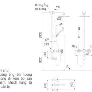 bản vẽ vòi sen tắm âm tường INAX BFV-81SEHC