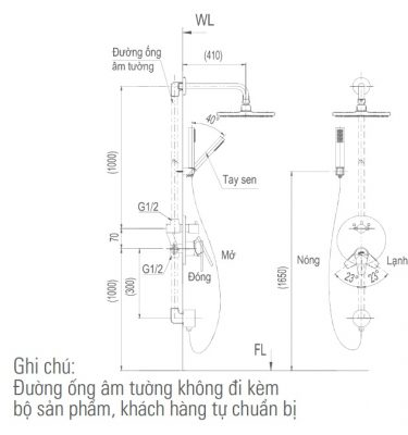 bản vẽ sen tắm âm tường INAX BFV-71SEW