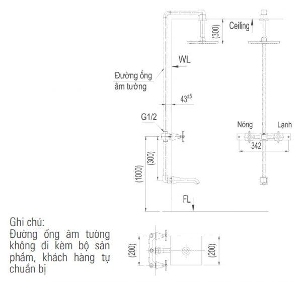 bản vẽ sen tắm âm tường INAX BFV-81SEC