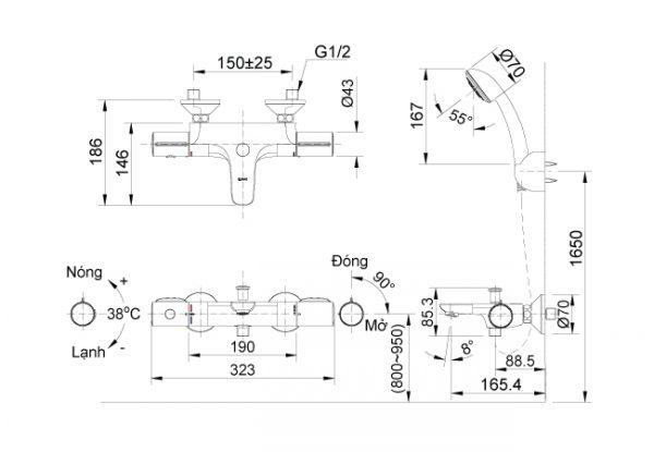 bản vẽ vòi sen tắm nhiệt độ INAX BFV-3413T-4C