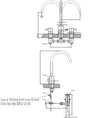 bản vẽ vòi chậu lavabo INAX LFV-7000B