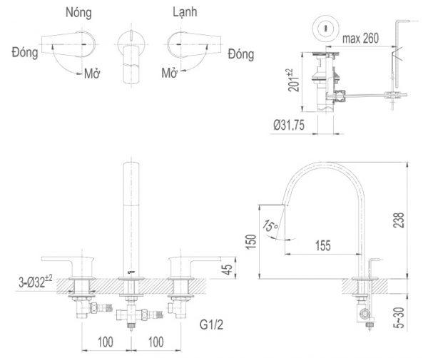 bản vẽ vòi chậu lavabo INAX LFV-7100B