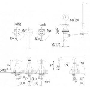 bản vẽ vòi chậu lavabo INAX LFV-8100B