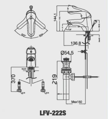 bản vẽ vòi chậu rửa mặt INAX LFV-222S