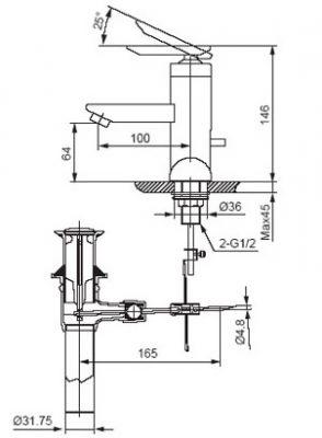 bản vẽ vòi chậu rửa mặt INAX LFV-4000S