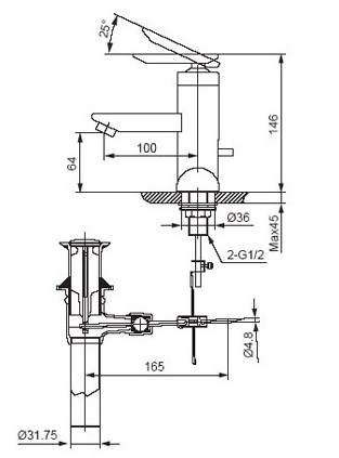 bản vẽ vòi chậu rửa mặt INAX LFV-4001S