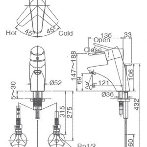 bản vẽ vòi chậu rửa mặt INAX LFV-5102S
