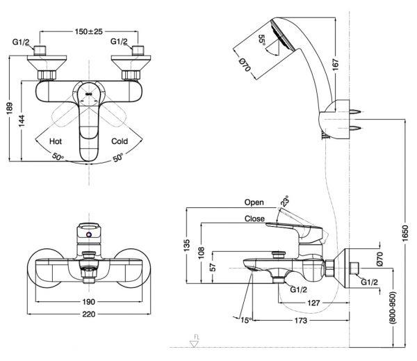 bản vẽ vòi sen tắm INAX BFV-1403S-4C