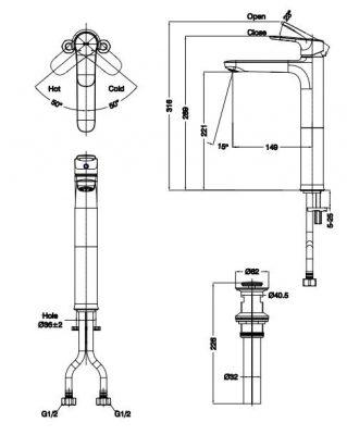 bản vẽ vòi chậu rửa mặt INAX LFV-1402SH