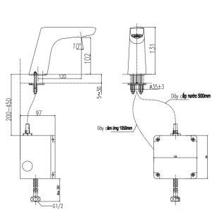 bản vẽ vòi rửa cảm ứng INAX AMV-50B
