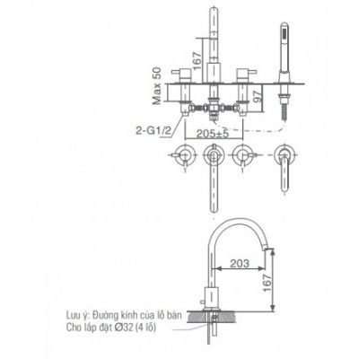 bản vẽ vòi sen bồn tắm INAX BFV-7000B