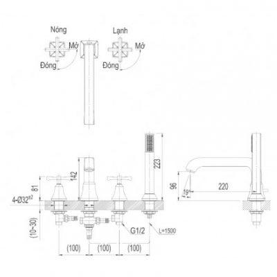 bản vẽ sen bồn tắm INAX BFV-8100B