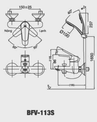 bản vẽ vòi sen tắm INAX BFV-113S