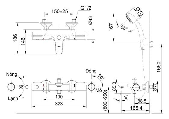 bản vẽ vòi sen tắm nhiệt độ INAX BFV-3413T-3C