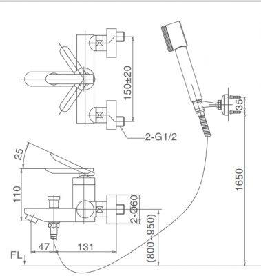 bản vẽ vòi sen tắm INAX BFV-4000S-5C