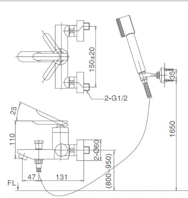 bản vẽ vòi sen tắm INAX BFV-4000S