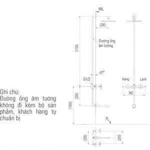 bản vẽ vòi sen tắm âm tường INAX BFV-81SEW