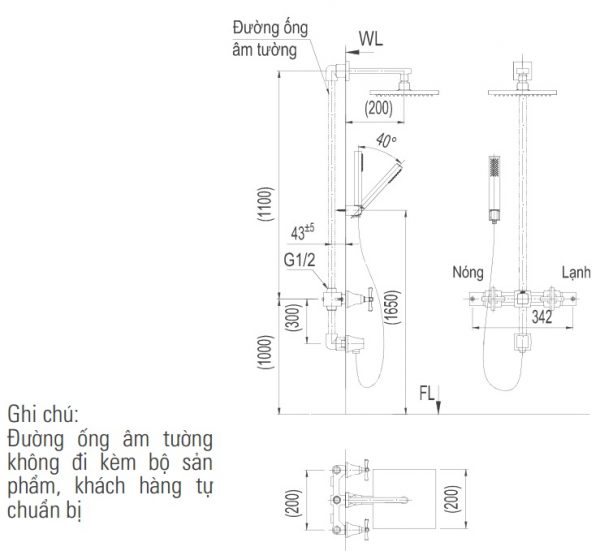bản vẽ sen tắm INAX BFV-81SEHW