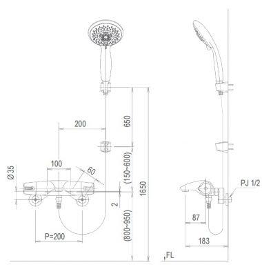 bản vẽ vòi sen tắm nhiệt độ INAX BFV-5103T-3C