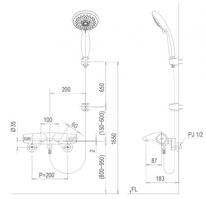 bản vẽ vòi sen tắm nhiệt độ INAX BFV-5103T-5C