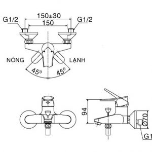 bản vẽ sen tắm INAX BFV-1003S-1C