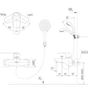 bản vẽ vòi sen tắm INAX BFV-213S-1C