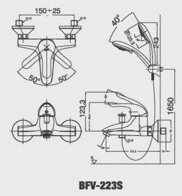 bản vẽ sen tắm INAX BFV-223S