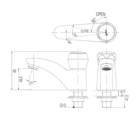 bản vẽ vòi chậu nước lạnh INAX LFV-12A