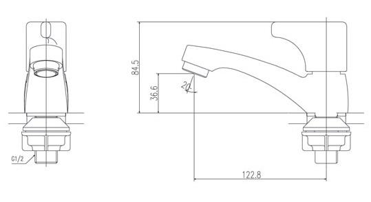 bản vẽ vòi chậu nước lạnh INAX LFV-13B