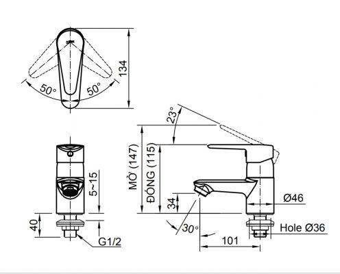 bản vẽ vòi chậu rửa mặt nước lạnh INAX LFV-21SP