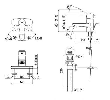 bản vẽ vòi chậu rửa mặt INAX LFV-1201S-1