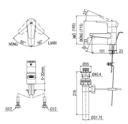 bản vẽ vòi chậu rửa mặt INAX LFV-1202S-1