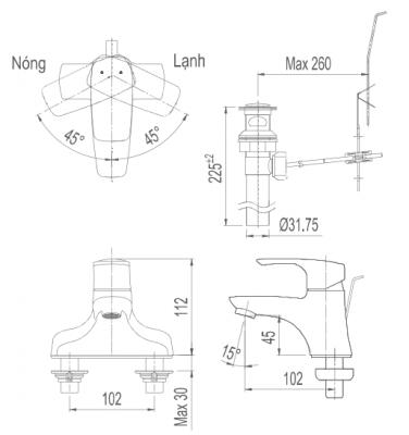 bản vẽ vòi chậu INAX LFV-211S