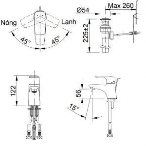bản vẽ vòi chậu rửa mặt INAX LFV-212S