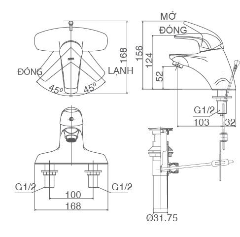 bản vẽ vòi chậu rửa mặt INAX LFV-3001S