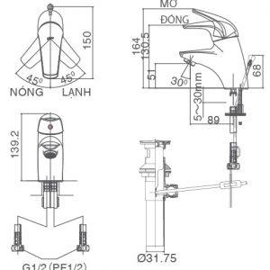 bản vẽ vòi chậu rửa mặt INAX LFV-3002S