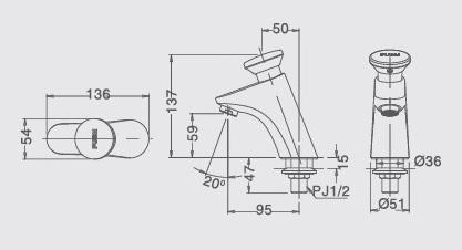 bản vẽ vòi chậu INAX LFV-p02B
