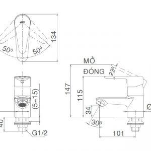 bản vẽ vòi chậu nước lạnh INAX LFV-21S