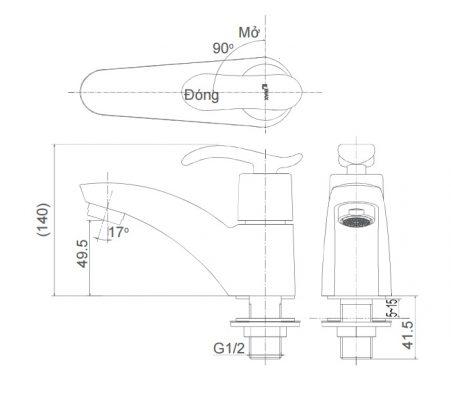 bản vẽ vòi chậu nước lạnh INAX LFV-11A