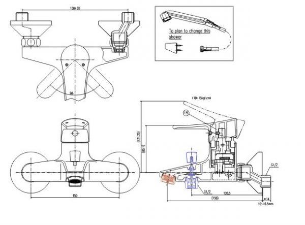 bản vẽ vòi sen tắm INAX BFV-1003S