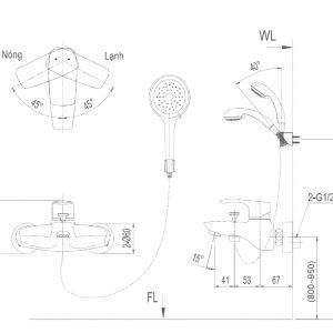 bản vẽ sen tắm INAX BFV-213S-3C