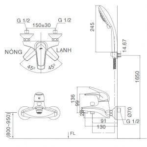 bản vẽ vòi sen tắm INAX BFV-3003S-3C