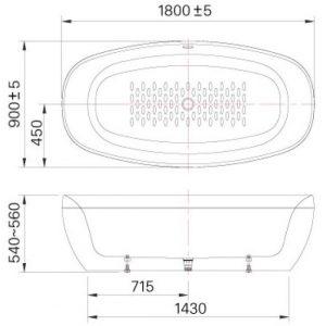 bản vẽ bồn tắm INAX BF-1858