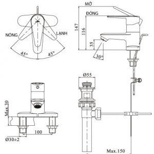 Bản vẽ INAX LFV-1101S-1