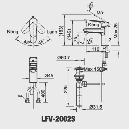 bản vẽ INAX LFV-2002S