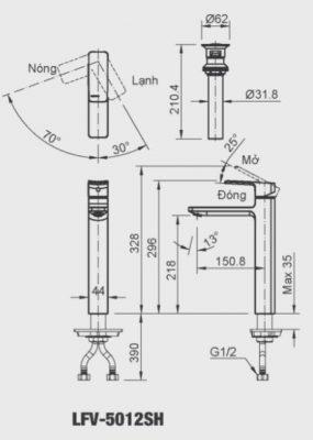 bản vẽ INAX LFV-5012SH
