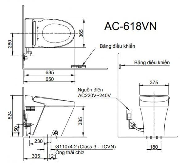 bản vẽ bồn cầu INAX AC-618VN